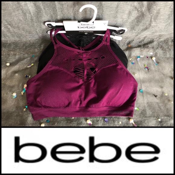 bebe Other - 🆕 BEBE 2-PACK SPORTS BRAS BLACK/BURGUNDY